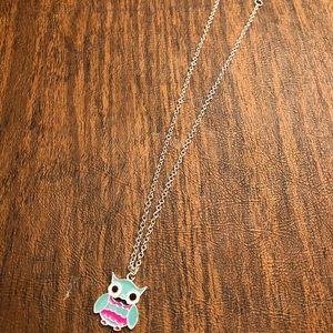 Owl Pendant Necklace - Blue
